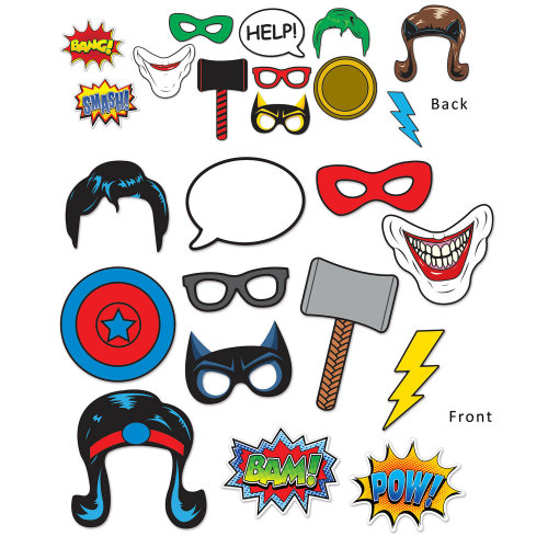 12 Piece Hero Photo Fun Signs - Superhero Cutout Party Decorations