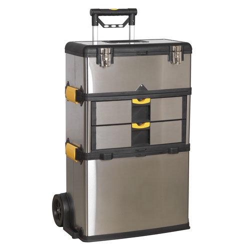 Sealey AP855 3 Compartment Mobile Stainless Steel/Composite Tool Box