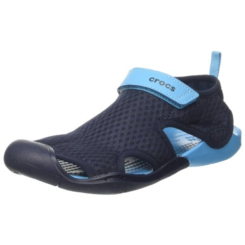 Crocs Women''s SwftwtrMshSndlW Wedge Heels Sandals, Blue (Navy), 37-38