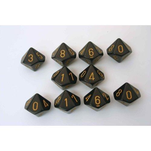 Chessex Opaque 10 x D10 Set - Black/gold