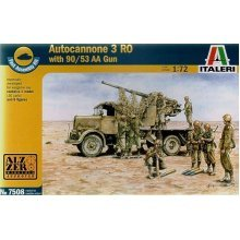AUTOCANNONE RO3 WITH 90/53 AA-MILITARY VEHICLES 1:72 FAST ASSEMBLY-Italeri 7508