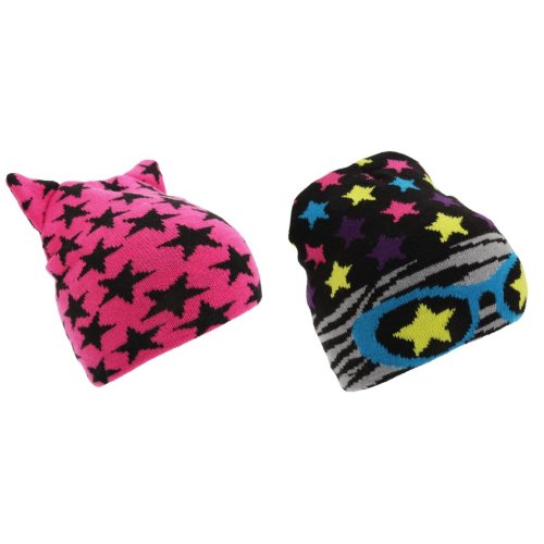 Childrens Girls Star Pattern Winter Beanie Hat