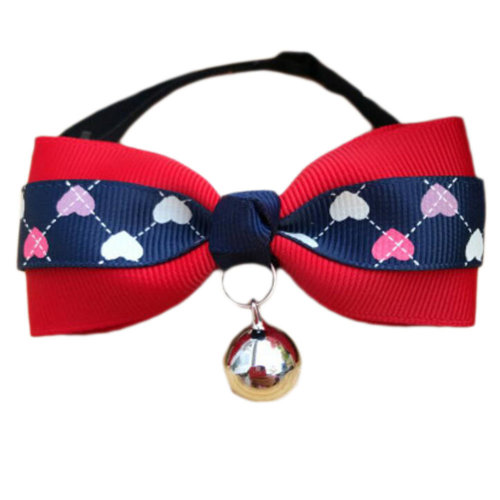 England Style Pet Collar Tie Adjustable Bowknot Cat Dog Collars with Bell-A14