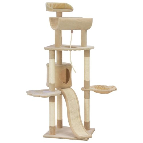 vidaXL Cat Tree with Sisal Scratching Posts Beige 145cm Kitten Play Tower