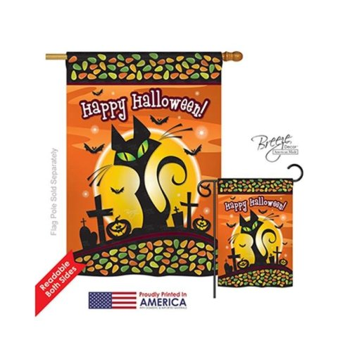 Breeze Decor 12050 Halloween Halloween Black Cat 2-Sided Vertical Impression House Flag - 28 x 40 in.