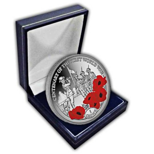 Ascension Island 2018 Centenary of the First World War: Last Post Uncirculated Cupro Nickel Colour Coin in a box