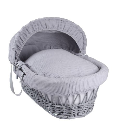 Grey Waffle Moses Basket - Grey Wicker | Wicker Moses Basket