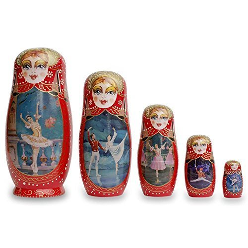 "8"" Set of 5 Russian Ballet Dancers Wooden Russian Nesting Dolls"
