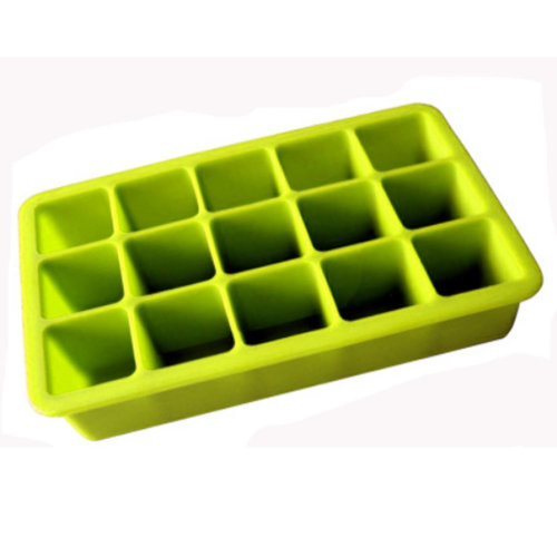 Safe And Soft Silicon Ice Cube Tray, Green, Set of 2,18.8*12*3.5CM