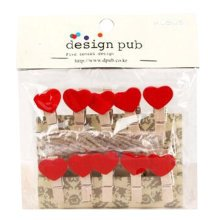 Mini Natural Wooden Clothespins Photo Paper Peg Pin Craft Clips with 2m Jute Twine, N