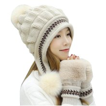 Cotton Kintted Hats Gloves Set