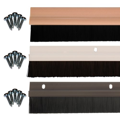 TrimSil Door Bottom Brush Strip Draught Excluder Sweep Seal Light Wood Effect Brown White PVC 838mm 3, 5 or 10 Pack