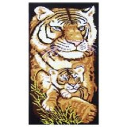 "Latch Hook Rug Kit""Tiger Mother and Cub"" 113 x 45cm"