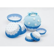 Cake Cups Blue & White Small 3 x 2cm 100