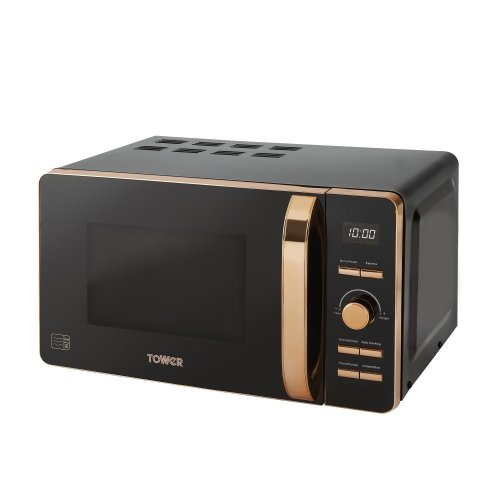 Tower T24021 Digital Solo Microwave with 6 Power Levels, 800 W, 20 liters, Black and Rose Gold