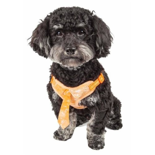 Pet Life HA50ORSM Bonatied Mesh Reversible & Breathable Adjustable Dog Harness with Designer Neck Tie, Orange - Small