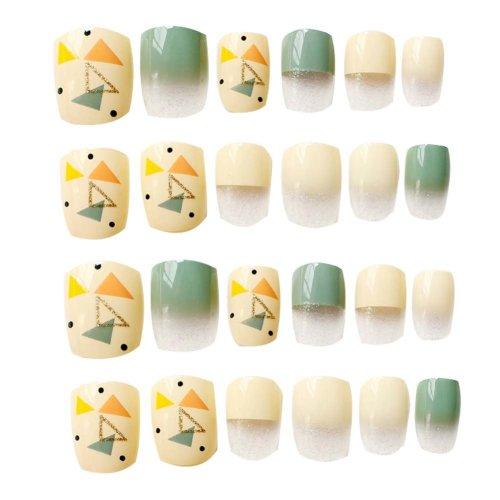 24 Pcs Fashion Nails Stickers Beautiful Nail Decorations False Nails Tips [B]