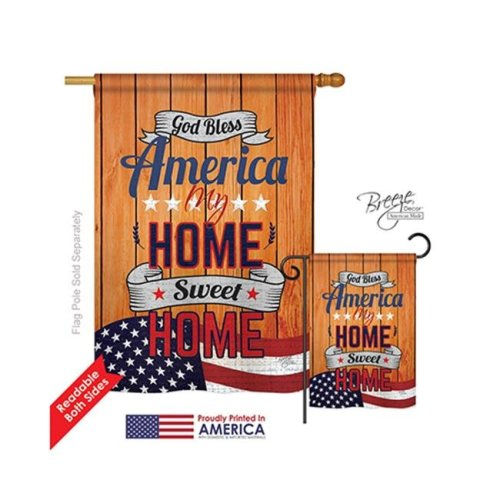 Breeze Decor 11075 Patriotic America My Home 2-Sided Vertical Impression House Flag - 28 x 40 in.