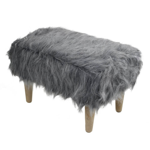 Grey Rectangle Furry Fluffy Stool Foot Rest Room Vanity Lounge Furniture Decor