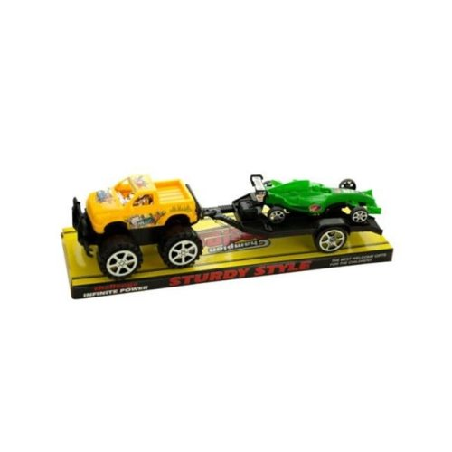 Kole Imports KL255-12 12.5 x 3.5 in. Friction Off Road Trailer Truck with Race Car, Pack of 12