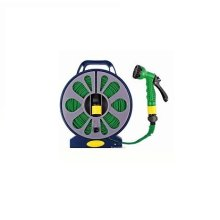 50ft Flat Garden Hose With Spray Nozzle -  flat garden hose pipe reel spray nozzle gun outdoor watering 50ft 15m