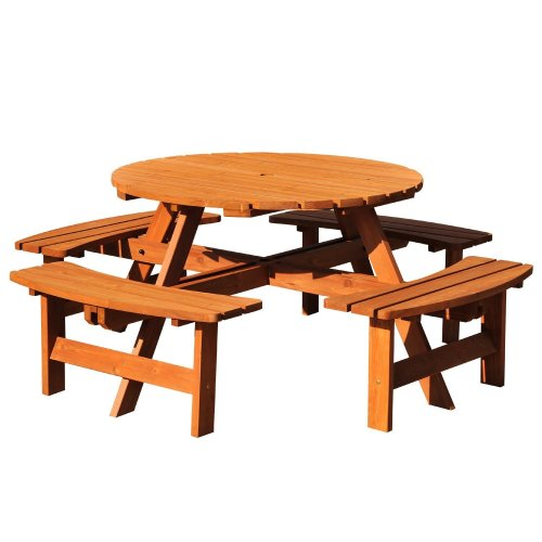 Outsunny 8 Seater Wooden Garden Bench | Round Picnic Table