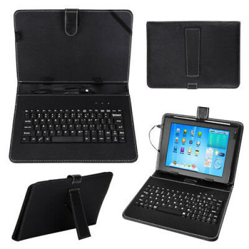 "Black Leather Case+USB Keyboard With Stand for 10""/10.1"" inch Android Tablet UK"