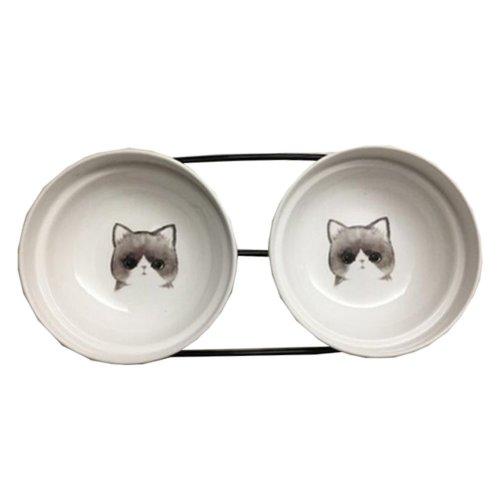 Little Double Bowls Set Ceramic Feeding Pot/Pet Bowls/Dog Bowls/Cat Bowls For Food & Water S Size(C#04)