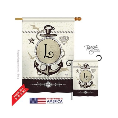 Breeze Decor 30194 Nautical L Monogram 2-Sided Vertical Impression House Flag - 28 x 40 in.