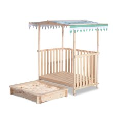 Homcom Kids Sandbox Pit Canopy Play Station Playhouse Veranda Wood (Green)