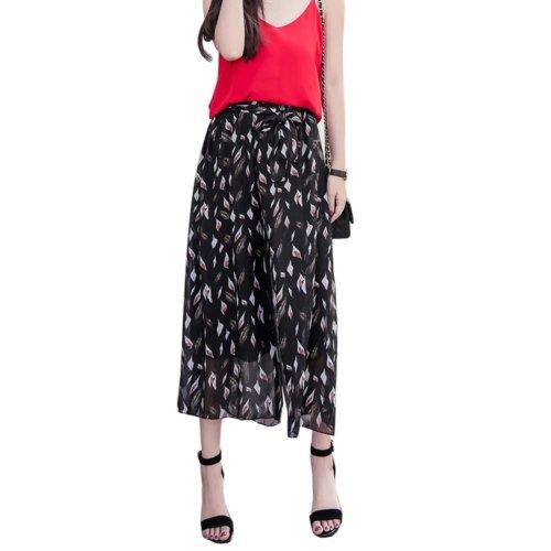 Elegant Summer Thin Pants Floral Print Women Loose Slacks Beach Clothing, #04
