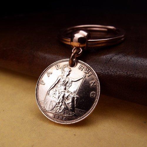 1936 British Farthing Coin Keychain Birthday Gift