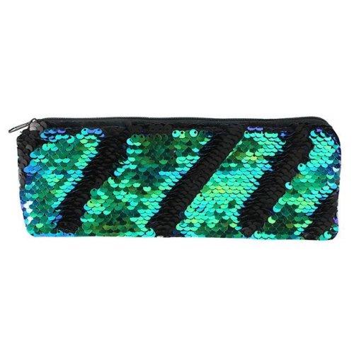 Matte Black and Green Reversible Sequin Pencil Case