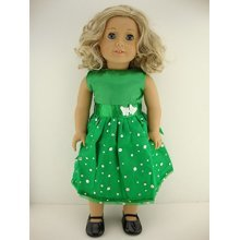 A Green Dress with Sequined Skirt Designed for 18 Inch Doll Like the American Girl Dolls Shoes Sold Separately