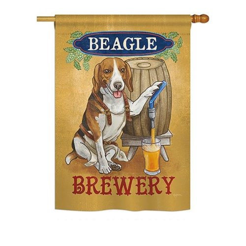 Breeze Decor BD-PT-H-110101-IP-BO-DS02-US Beagle Brewery Nature - Everyday Pets Impressions Decorative Vertical House Flag - 28 x 40 in.
