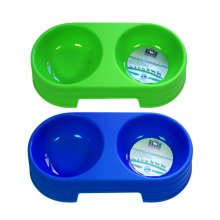 Pets Double Food And Water Bowl Assorted Colours -  food water bowl double boyz toys one size uk