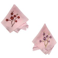 Two Pieces Of Elegant  Retro Plum Flower Embroidered Handkerchiefs-Pink
