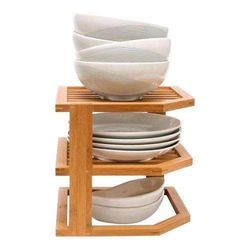 Bamboo 3 Tier Corner Shelf Unit Kitchen Plates Rack Cupboard Organiser Bathroom