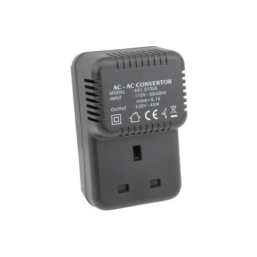 Step Up Voltage Convertor to allow 240v UK items to be powered from 110v Mains Outlets 45W Max