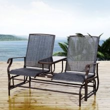 Outsunny Two-Seater Rattan Rocking Chair