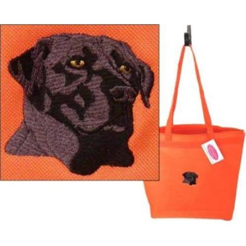 d2507cb6e One Bella Casa 72118TT18P 18 in. Black Lab with Text Polyester Tote ...