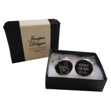 """Handcrafted """"Keep Music Evil"""" Cuff links - Fun Valentine's Day, Christmas, thank you or birthday gift for a Metal Head"""