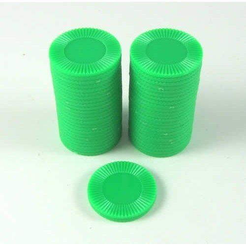 Set of 50 7/8 Easy Stacking Plastic Mini Playing Poker Chips - Green