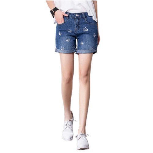 High-quality Jeans Shorts Exquisite Embroidery High Waist Shorts, D