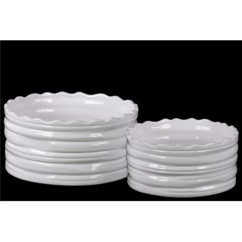 Benzara BM133066 Round Flower Pot with Wave Pattern Mouth - White - 10 x 10 x 5 in. - Set of 2