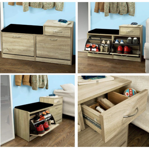 Shoe Storage Bench with Cushioned Seat, Drawer and flip out storage