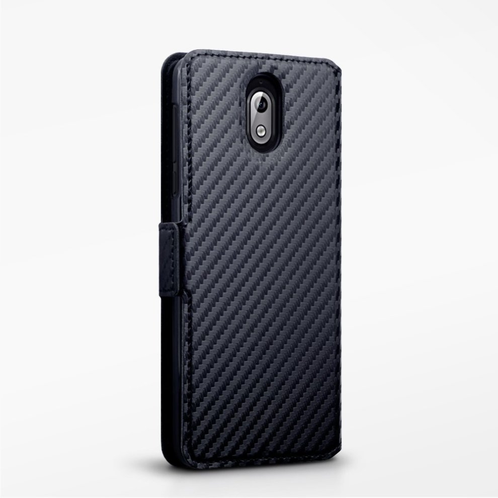 buy online d02f0 b1f8b TERRAPIN Nokia 3.1 Case Nokia 3.1 Leather Case Wallet Flip Cover - Ultra  Slim Fit - Viewing Stand - Card Slots - Black Carbon Fibre Texture