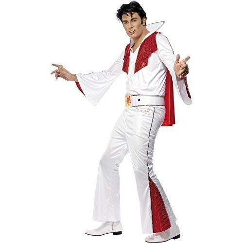 Elvis Costume, White & Red, With Shirt, Trousers, Cape & Belt -  elvis costume fancy dress mens white outfit rock viva adults 1950s presley roll