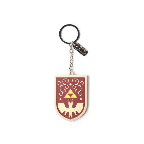 NINTENDO Legend of Zelda Hero's Shield 3D Pendant Rubber Keychain, One Size, Red/Tan (KE251104ZEL)
