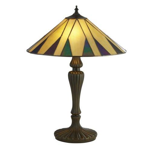 Searchlight Charleston Tiffany Table Lamp Yellow/Multi